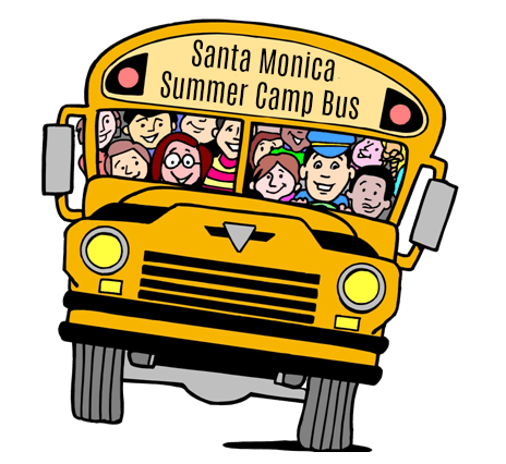 Aloha Beach Camp's Santa Monica Summer Camp bus filled with happy campers and their camp counselors on the way to beach camp.