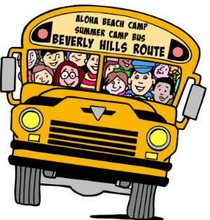 Image of Aloha Beach Camp's Beverly Hills summer camp bus filled with happy campers on its way to beach camp.