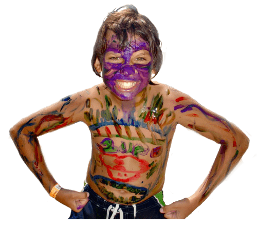Boy with face paint all over his body.