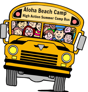 Aloha Beach Camp's High Action Summer Camp bus filled with happy campers on the way to beach camp.