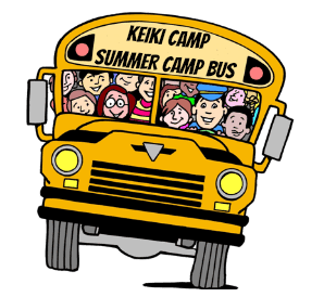 Keiki Camp Summer camp bus filled with happy campers on the way to Aloha Beach Camp.