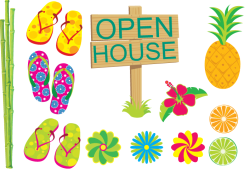 Cartoon/graphic of Aloha Beach Camp's upcoming Summer Camp Open House on Sunday, March 21, 2021 at Zuma Beach.