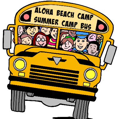 Aloha Beach Camp summer camp bus filled with happy campers and staff on the way to the beach this summer.