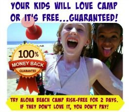 Two happy female campers standing together with sunscreen all over their faces and bodies promoting Aloha Beach Camp's 100% money-back guarantee.